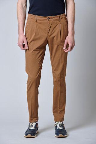 pantalone tabacco raso 1pince e risvolto slim Angelico