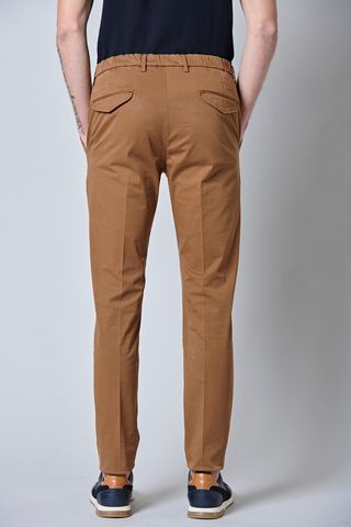 tobacco satin trousers pleat and turned up slim Angelico