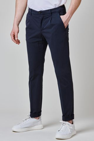 blue satin trousers pleat and turned up slim Angelico