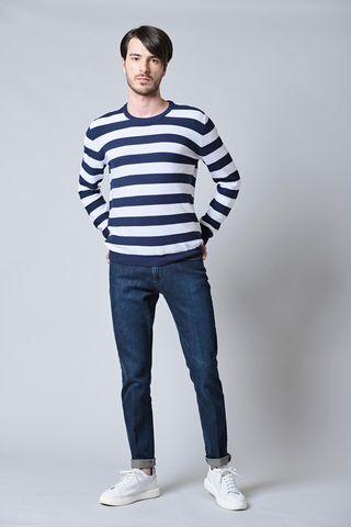 maglia blu-bianca rigata cotone uomo Angelico
