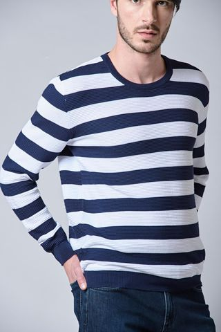 blue-white striped cotton pullover Angelico