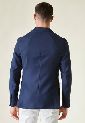 blazer blu sfoderato pura lana slim Angelico