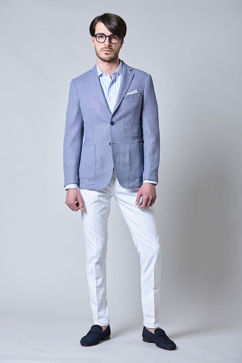 giacca azzurra sfoderata cotone-lino slim Angelico