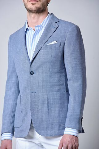 light blue unlined jacket cotton-linen slim Angelico