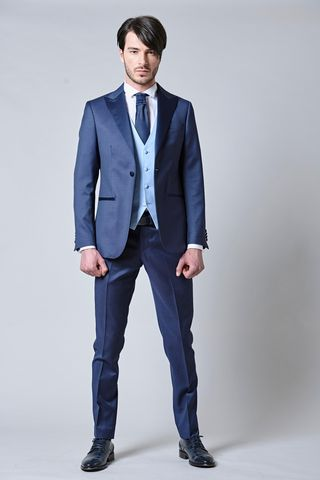 blue suit with waistcoat and tie slim Angelico