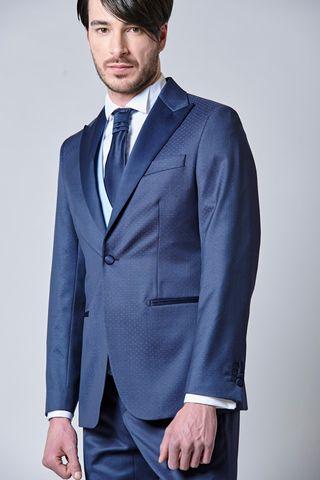 abito blu fantasia 4pezzi e cravattone slim Angelico