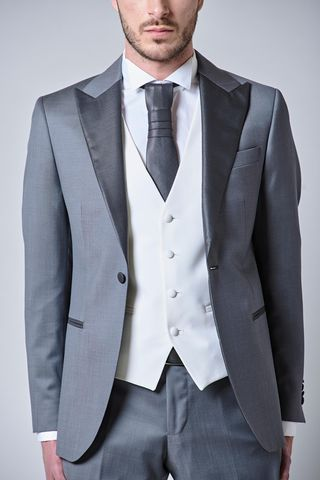 grey suit with waistcoat and tie slim Angelico