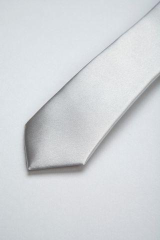 pearl grey satin tie Angelico