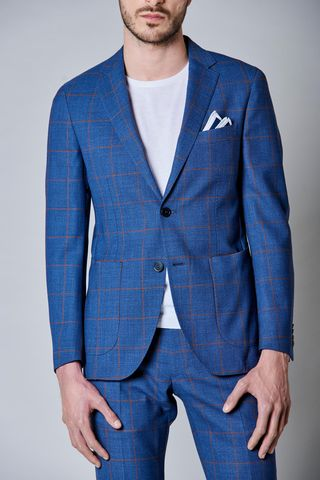 denim blue suit orange check slim Angelico