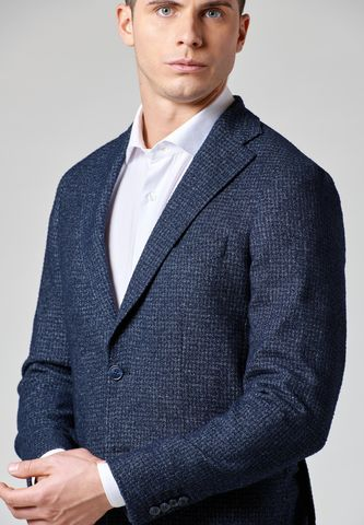 blue unlined stretch jacket patterned slim Angelico