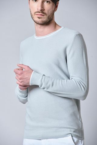 grey cotton sweater with white border Angelico