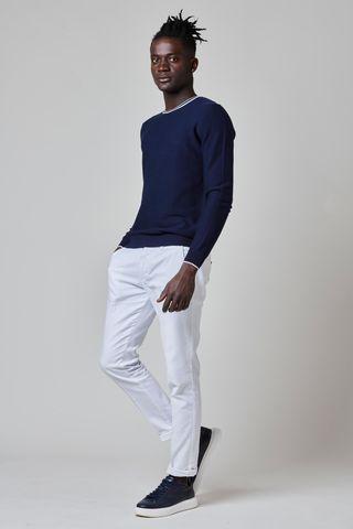 maglia blu bordino bianco cotone Angelico
