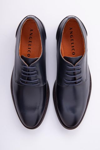 Navy leather derby shoes Angelico
