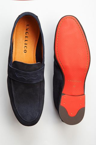 unlined blue suede loafers Angelico