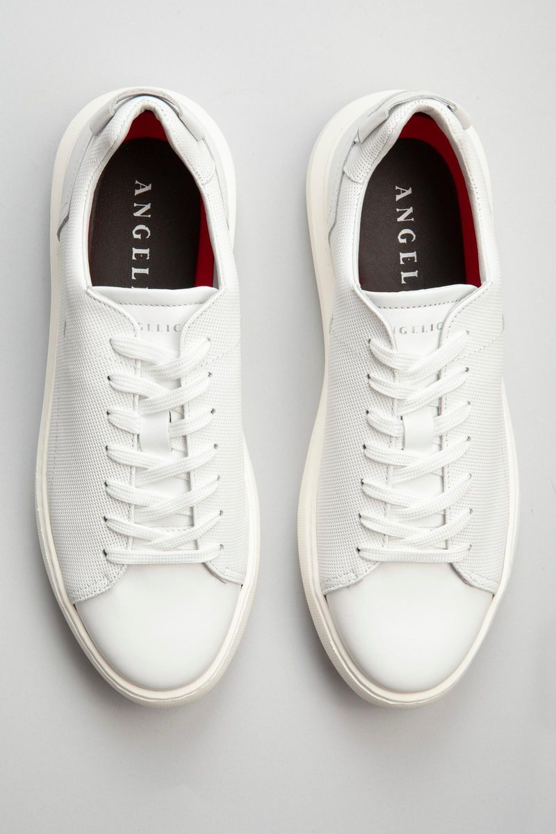 sneaker bianca pelle traforata Angelico