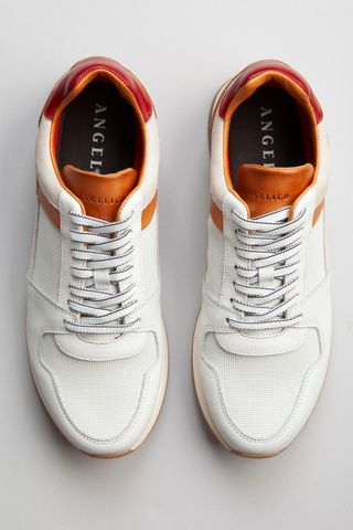 white leather sneaker with red-leather details Angelico