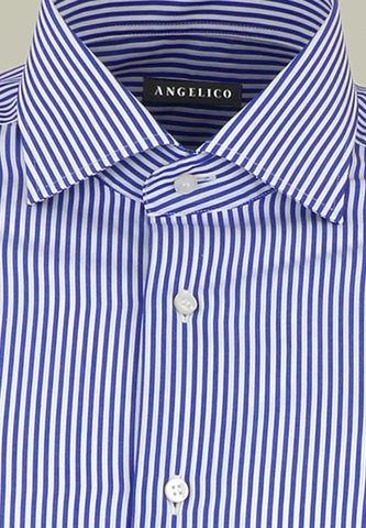 camicia blu bianca rigata media slim Angelico