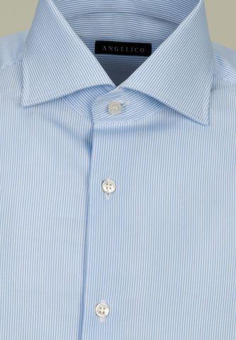 camicia azzurra rigata collo francese Angelico