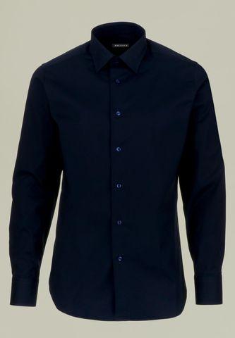 navy shirt stretch cotton slim Angelico