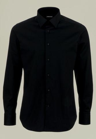 camicia nera cotone elasticizzato slim Angelico