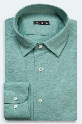green long sleeves polo shirt pique Angelico