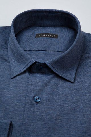 blue long sleeves polo shirt pique Angelico