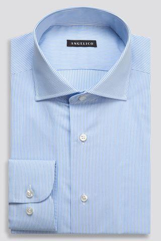 camicia azzurra bacchettata slim Angelico