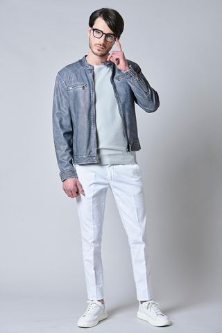 blue biker vintage leatherette jacket Angelico