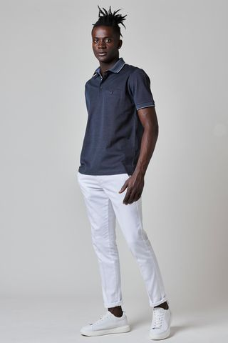 navy lisle polo oxford shirt  Angelico