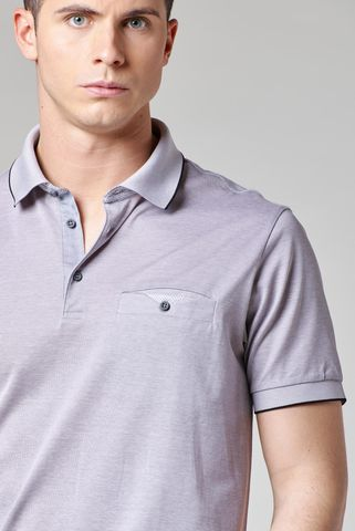 gray lisle polo oxford shirt Angelico