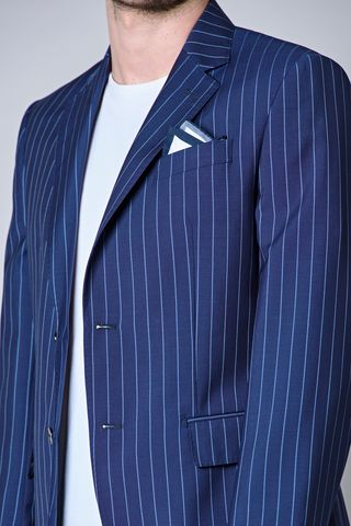bluette pinstripe suit azure stripes merino Angelico