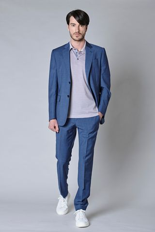sugar blue pinstripe merino suit Angelico