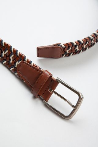 brown leather belt braided with blue cotton Angelico