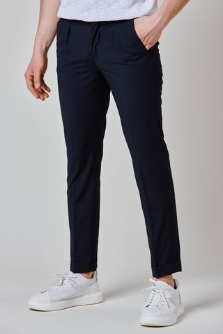 navy wool trousers turn-up 1 pleat slim Angelico