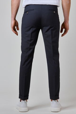 charcoal wool trousers turn-ups 1 pleat slim Angelico