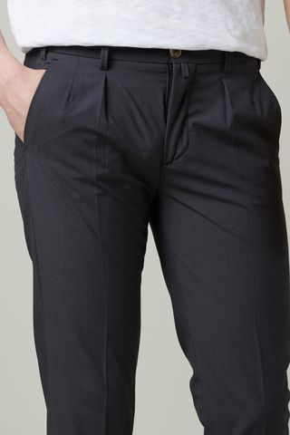 charcoal wool trousers turn-ups 1 pleat slim Angelico