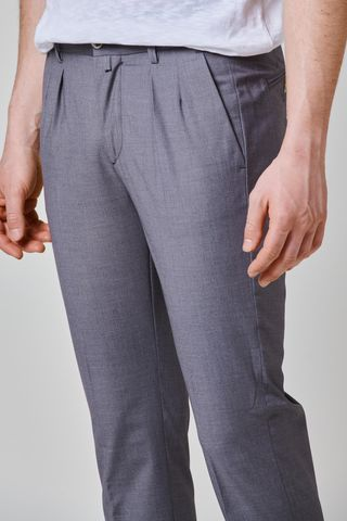 gray wool trousers turn-up 1pleat slim Angelico