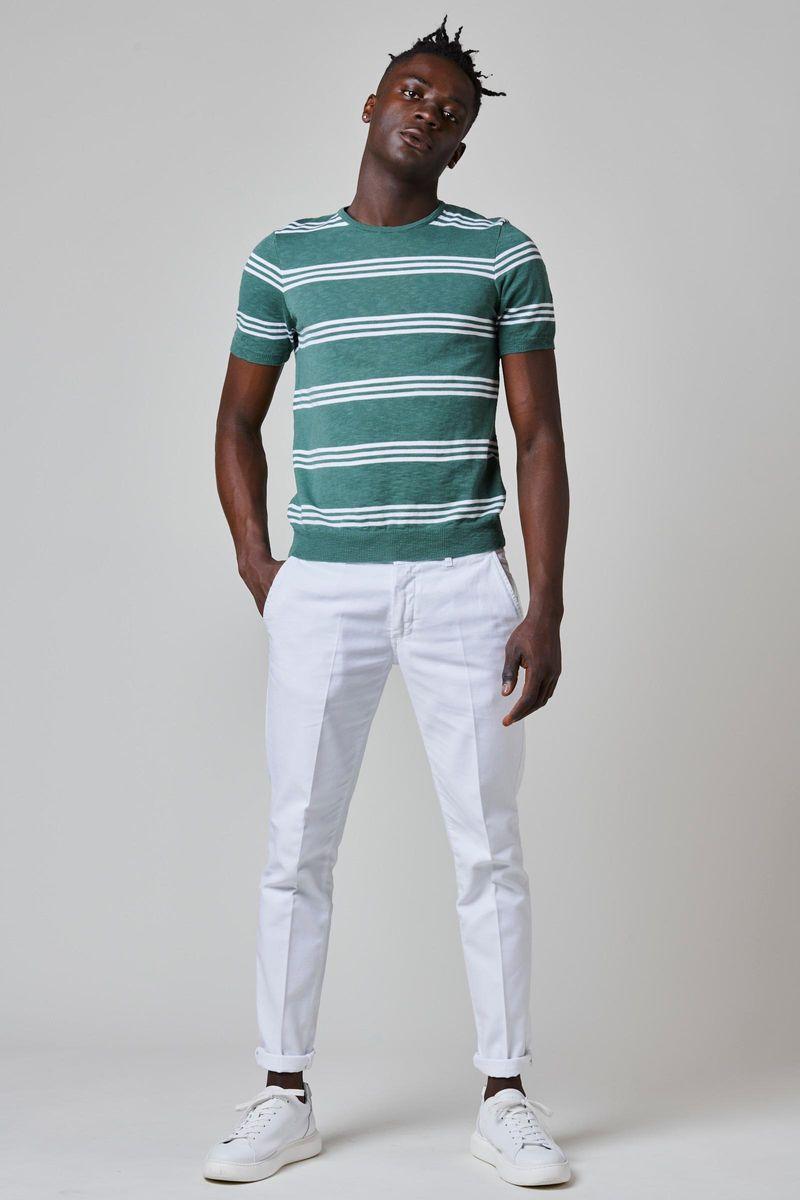 t-shirt verde-rigata bianca maglina Angelico