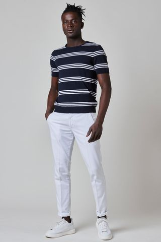 t-shirt blu-rigata bianca maglina Angelico