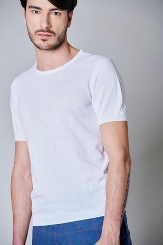 t-shirt bianca girocollo maglina cotone Angelico