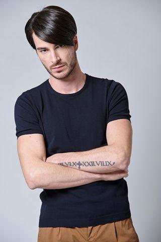t-shirt blu girocollo maglina cotone Angelico