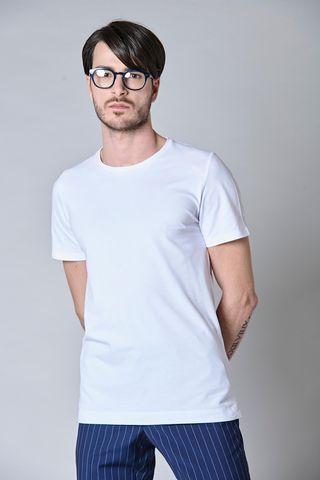 t-shirt bianca pique liscio Angelico