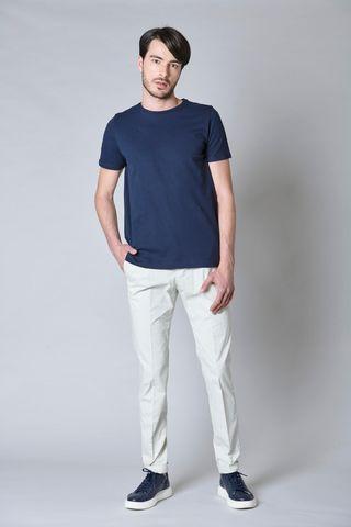 t-shirt blu pique liscio unita Angelico