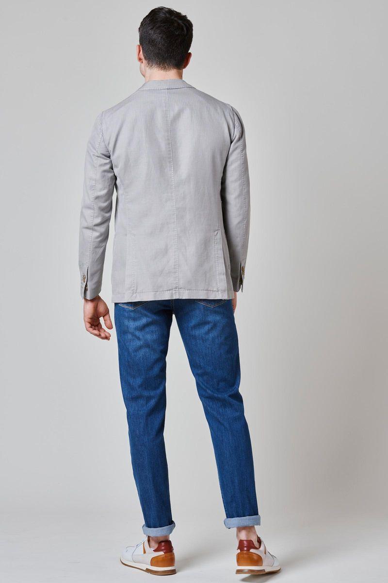 giacca grigio chiaro resca cotone-lino slim Angelico