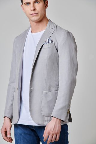light gray herringbone jacket cotton-linen slim Angelico