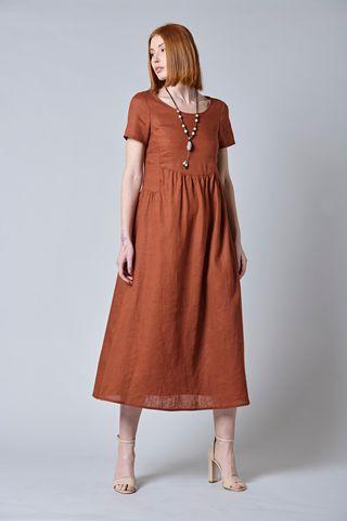 Midi linen brick dress short sleeves Angelico