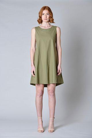 Sleeveless olive dress flared Angelico