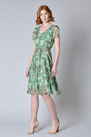 Green floral dress with cap sleeves Angelico