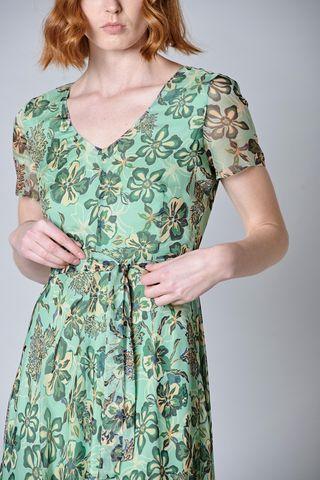 vestito verde floreale manica aletta Angelico