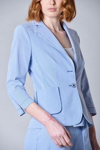 giacca blu rigata seersucker donna Angelico